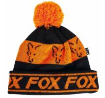 Fox Black Orange Lined Bobble Beanie bélelt téli sapka