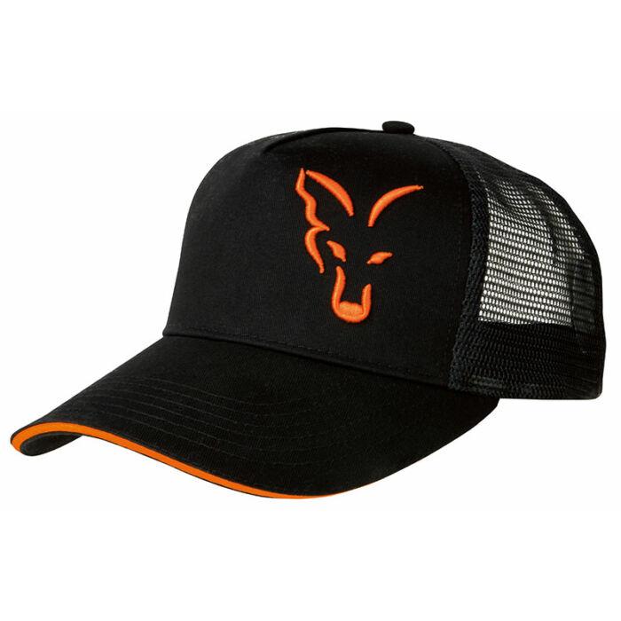 Fox Black Orange Trucker Cap hálós baseball sapka