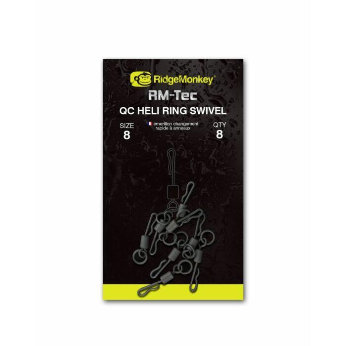 RidgeMonkey RM-Tec QC Heli Ring Swivel karikás gyorskapcsos forgó