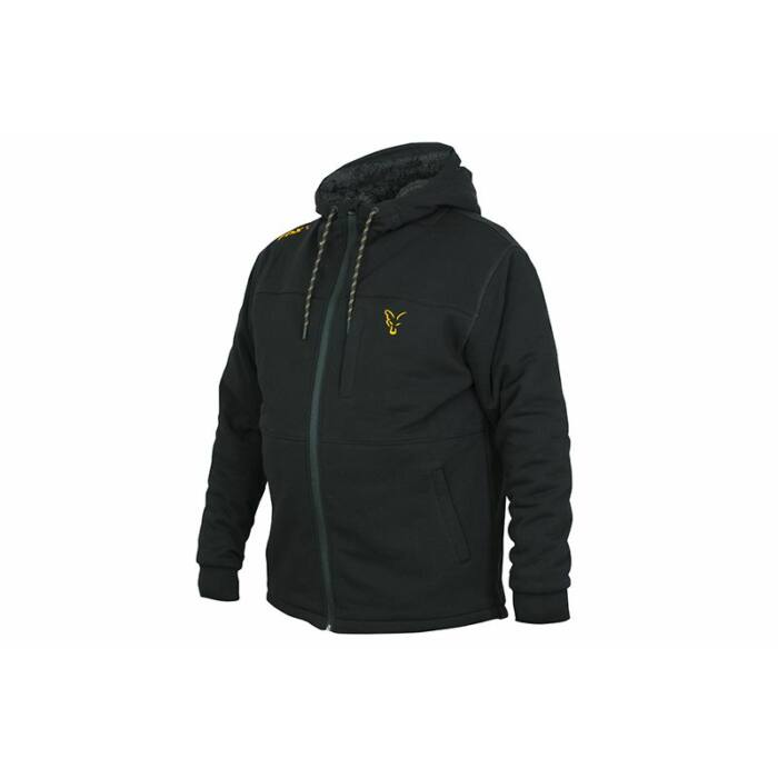Fox Collection Black Orange Sherpa Hoody bélelt kapucnis felső